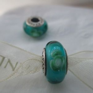 Pandora flowers for you teal green 925 ALE
